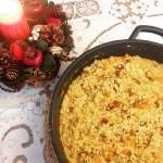 Risotto de calabaza, oronja y tomates secos