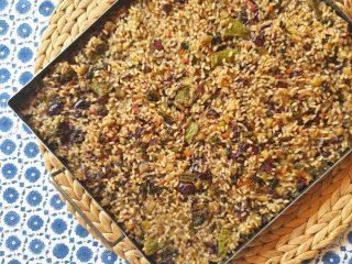 Arròs sec de verdures estiu i olives negres